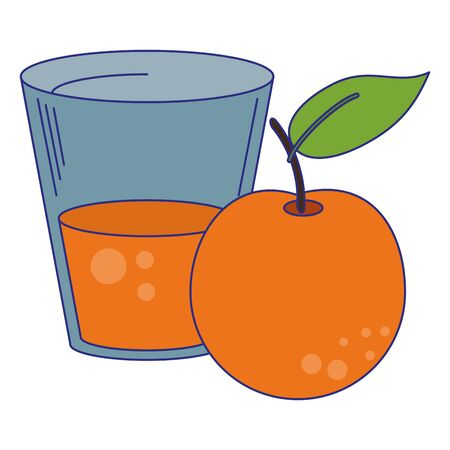 Orange juice cup with fruit vector illustration graphic design