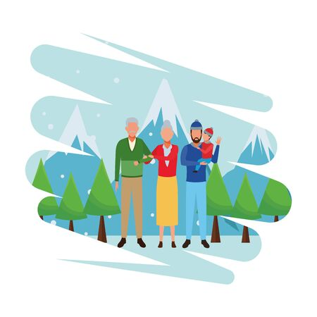 family avatar cartoon character wearing winter clothes with knitted cap snow mountain lanscape vector illustration graphic design Ilustrace
