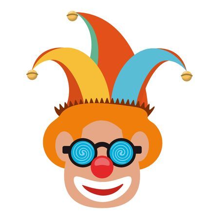 Clown face with glasses and cartoon