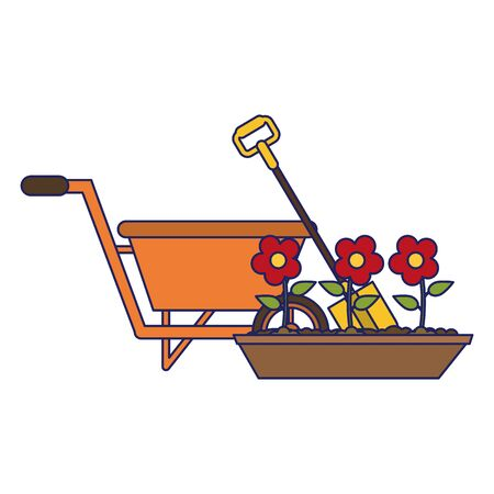 Gardening plants and tools wheelbarrow and flower in ground with shovel