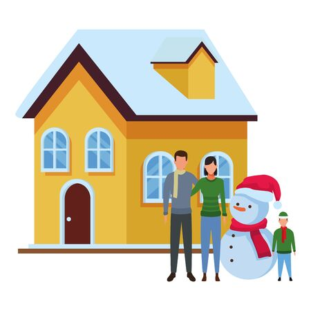 family with snowman and house vector illustration graphic design