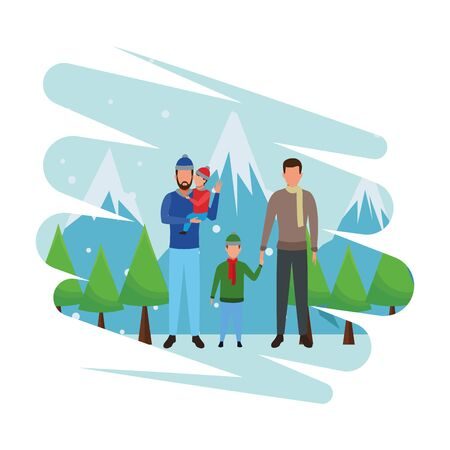 men carrying children and wearing winter clothes snow mountain lanscape vector illustration graphic design