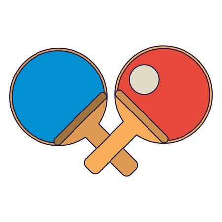 tennis table rackets with ball cartoon Design