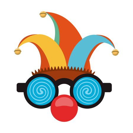 Glasses and clown nose with jester cartoon
