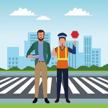 Trabajos y trabajadores profesionales en el diseño gráfico del ejemplo del vector del paisaje urbano de la ciudad