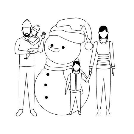 family with snowman black and white vector illustration graphic design