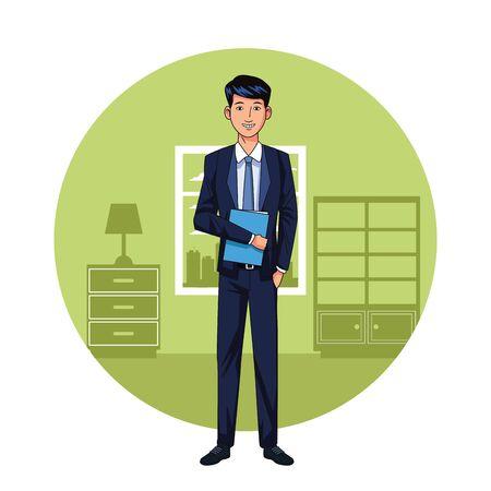 Executive businessman in the office cartoon round icon vector illustration graphic design Stock Illustratie