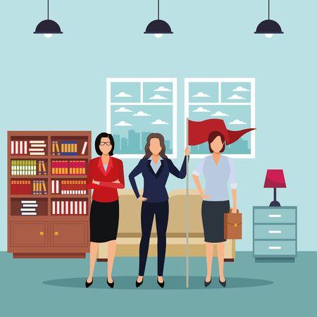 executive business women with success flag cartoon inside apartment scenery vector illustration graphic design Illusztráció