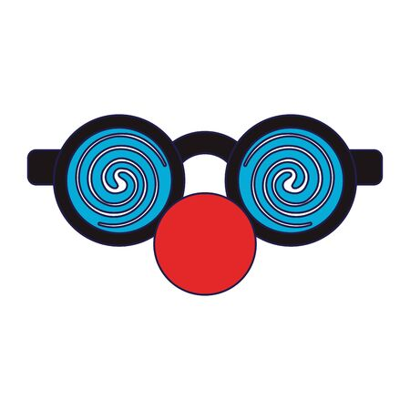 Glasses with clown nose cartoon isolated Designe 일러스트