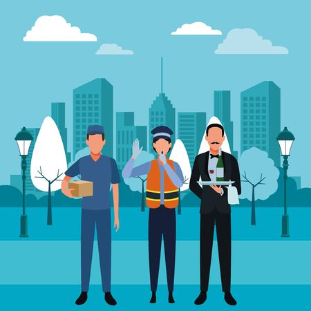Jobs and professions professionals workers over cityscape buildings scenery vector illustration graphic design  イラスト・ベクター素材