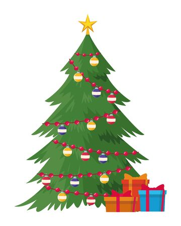 christmas tree icon and gift boxes decorated vector illustration graphic design