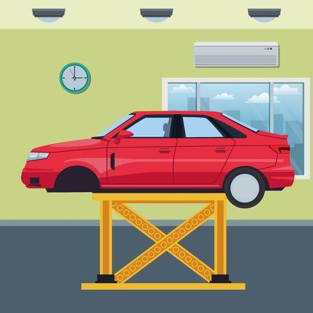 car service manufacturing car cartoon vector illustration graphic design