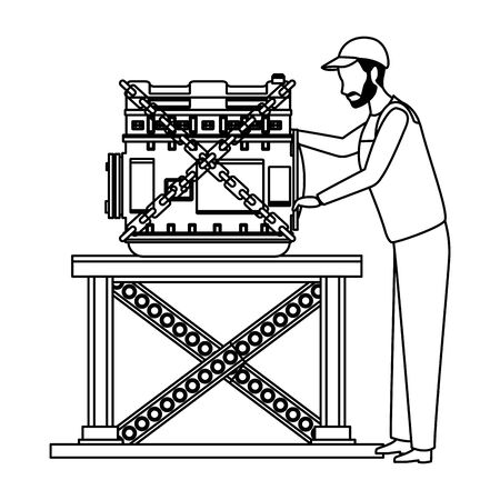 industry car manufacturing engine assembly cartoon vector illustration graphic design