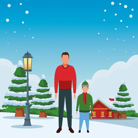 man and child avatar wearing winter clothes with knitted cap and scarf snowing town lanscape vector illustration graphic design