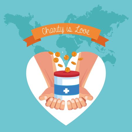 Charity is love ribbon banner world map background with cartoon vector illustration graphic design  イラスト・ベクター素材