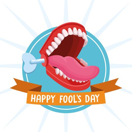 Happy fools day joke cartoon with ribbon banner vector illustration graphic design