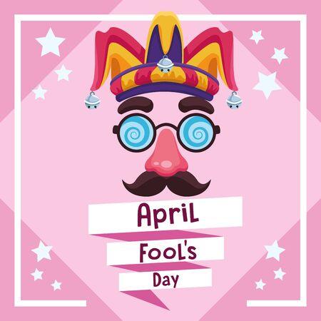 April fools day card with joke cartoo and stars vector illustration graphic design Reklamní fotografie - 129930373