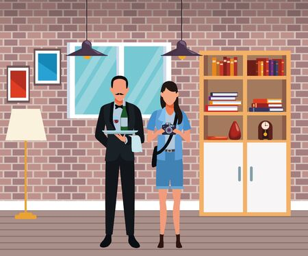 Jobs and professional workers inside home with furniture scenery vector illustration graphic design