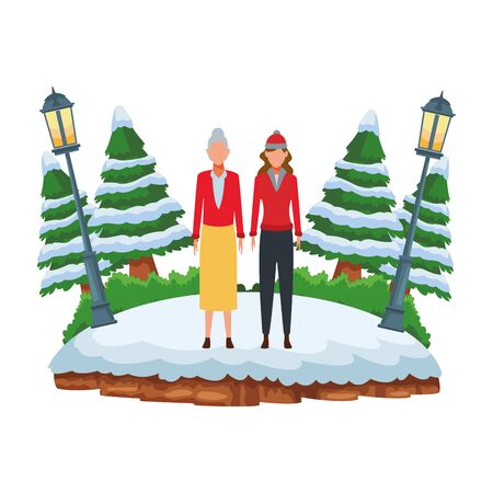 old woman and young woman avatar wearing winter clothes and knitted cap at snowing park vector illustration graphic design