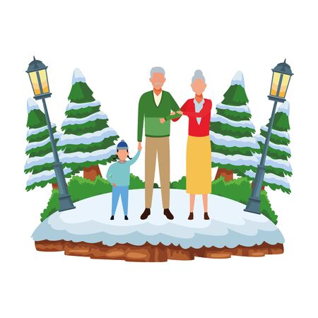 family avatar cartoon character wearing winter clothes and knitted cap at snowing park vector illustration graphic design