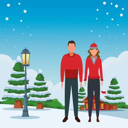 couple avatar wearing winter clothes and knitted cap cartoon character snowing town lanscape vector illustration graphic design Ilustrace