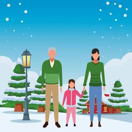 old man woman and child avatar wearing winter clothes snowing town lanscape vector illustration graphic design