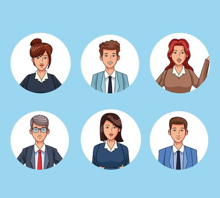 Business people characters profile round icons collection vector illustration graphic design