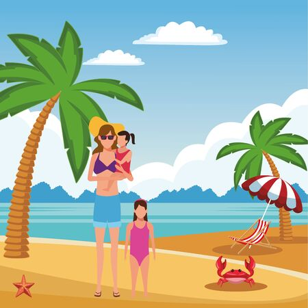 summer vacation woman at beach with girls cartoon vector illustration graphic design