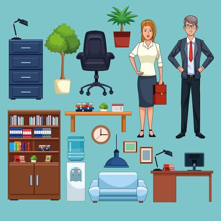 Business workers working in the office cartoons collection vector illustration graphic design