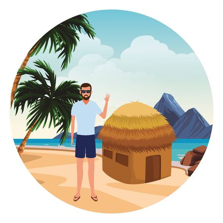 summer vacation man at beach cartoon vector illustration graphic design