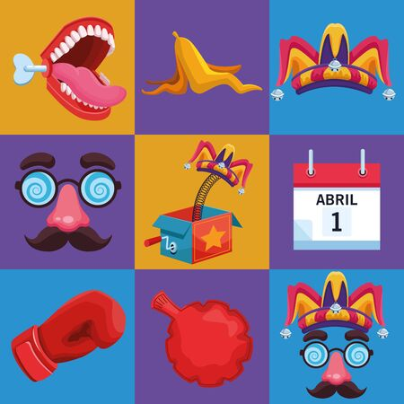 April fools jokes collection cartoons vector illustration graphic design