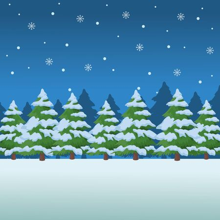 snow pine trees rural landscape vector illustration graphic design