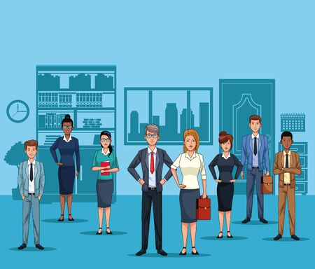 Business people at office scenery cartoons blue background vector illustration graphic design