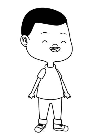 Cute boy children smiling and having fun cartoon vector illustration graphic design. 스톡 콘텐츠 - 129932448