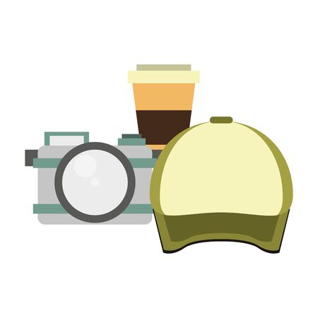 hipsters accessories for the holidays and camera coffee cup with cap isolated symbols Vector design illustration