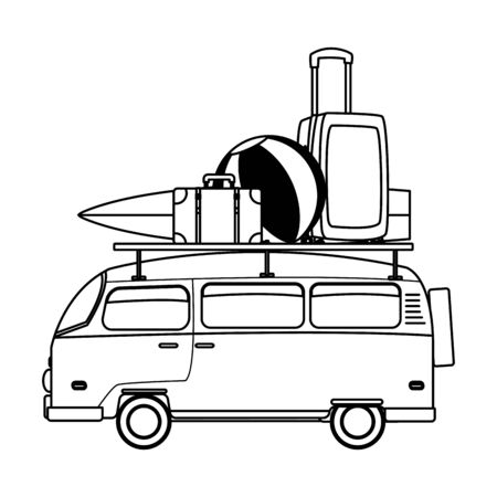 Retro van with surf table and luggage vector illustration graphic design