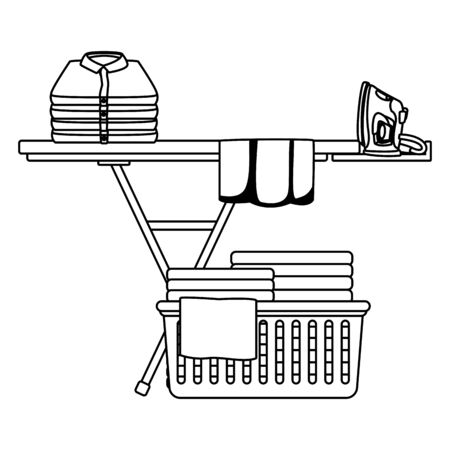 laundry wash and cleaning clothes iron, folded, clothes in a cleanlines basket and ironing board icon cartoon in black and white vector illustration graphic design Standard-Bild - 130136738