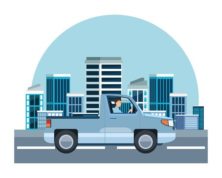 Man driving pick up vehicle sideview cartoon on the city, urban scenery background ,vector illustration graphic design.