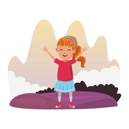 girl having fun and playing at nature outdoors splash scenery vector illustration graphic design Illustration