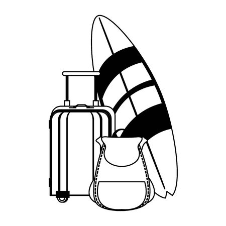 Summer and beach vacations surf table backpack and luggage cartoons vector illustration graphic design Ilustracja