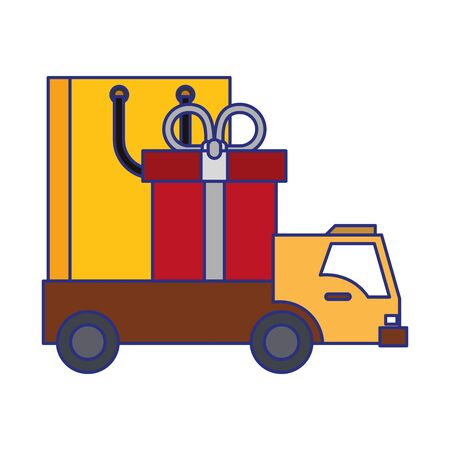 Shopping giftbox and bag in delivery truck symbols vector illustration graphic design 스톡 콘텐츠 - 130136774