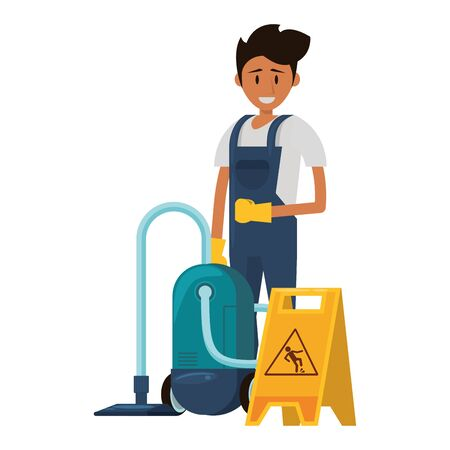 Cleaner worker man smiling with cleaning products and equipment vector illustration graphic design. Stock fotó - 130136800