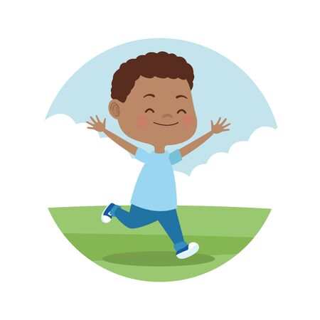 Cute boy smiling and playing in park cartoon round icon cartoon vector illustration graphic design.