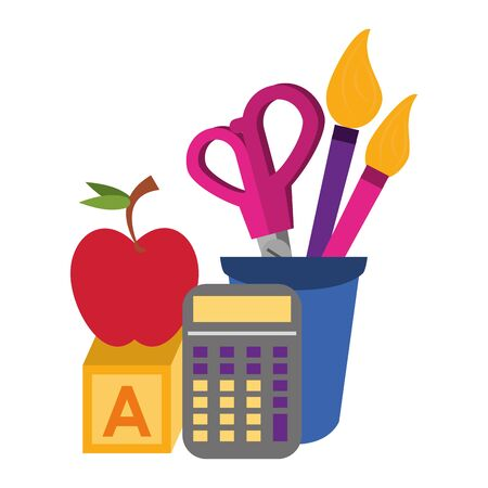Back to school education apple and calculator with cube and brush scissors in cup cartoons vector illustration graphic design 일러스트