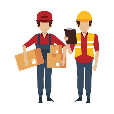 Warehouse workers with boxes and clipboard vector illustration Illusztráció