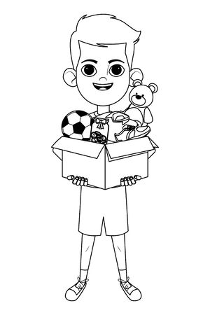 little kid boy carrying box of toys with balloon and teddy bear avatar cartoon character portrait isolated black and white vector illustration graphic design Иллюстрация
