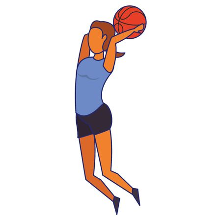 Fitness woman playing basketball sport isolated cartoon vector illustration graphic design Ilustração