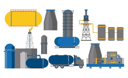 Oil industry machinery pumps set of icons vector illustration graphic design