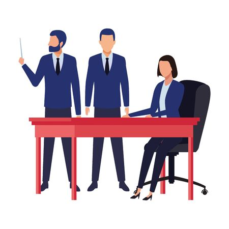 business people businessman wearing beard and using a wand and businesswoman sitting on a desk avatar cartoon character vector illustration graphic design