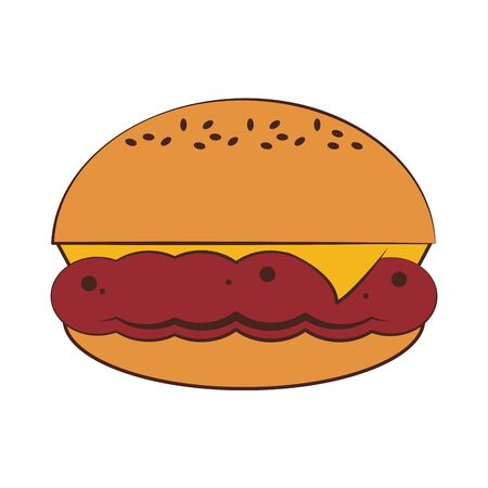 Fast food hamburger with cheese vector illustration graphic design 일러스트